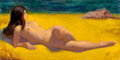 Pin-up and Glamour Art, Earl Moran (American, 1893-1984). Nude on Beach. Oil onboard. 18 x 36 in.. Signed lower right. ...