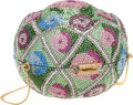 """Luxury Accessories:Bags, Judith Leiber Full Bead Green & Pink Crystal Flower BouquetMinaudiere Evening Bag. Very Good Condition. 4"""" Width x3...."""