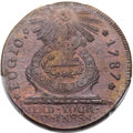 Colonials, 1787 1C Fugio Cent, STATES UNITED, 4 Cinquefoils, Pointed Rays, N. 13-X, W-6855, R.2, MS64 Brown PCGS....