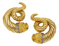Estate Jewelry:Earrings, Diamond, Emerald, Gold Earrings, Lalaounis. ...