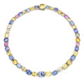 Estate Jewelry:Necklaces, Multi-Color Sapphire, White Gold Necklace, J. E. Caldwell. ...