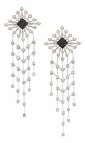 Estate Jewelry:Earrings, Diamond, Colored Diamond, White Gold Earrings, Palmiero. ...