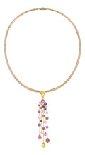 Estate Jewelry:Necklaces, Diamond, Sapphire, Pink Gold Pendant-Necklace, Chanel. ...