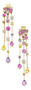 Estate Jewelry:Earrings, Colored Diamond, Diamond, Sapphire, Pink Gold Earrings, Chanel. ...