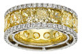 Estate Jewelry:Rings, Fancy Yellow Diamond, Diamond, Platinum, Gold Eternity Band. ...