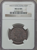 Hong Kong , Hong Kong : British Colony. Victoria Cent 1901-H MS63 Brown NGC,...