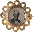 Political:Ferrotypes / Photo Badges (pre-1896), Horatio Seymour: Ferrotype Badge....