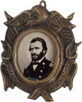 Political:Ferrotypes / Photo Badges (pre-1896), Ulysses S. Grant: Bold Ferrotype Badge....