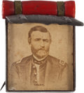 Political:Ferrotypes / Photo Badges (pre-1896), Ulysses S. Grant: Rare Knapsack and Blanket Roll Badge....