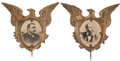 Political:Ferrotypes / Photo Badges (pre-1896), Grover Cleveland and Benjamin Harrison: Matching Photo Badges....(Total: 2 Items)