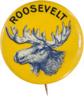 Political:Pinback Buttons (1896-present), Theodore Roosevelt: Colorful Bull Moose Name Pin....