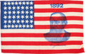 Political:Textile Display (pre-1896), Benjamin Harrison: Silk Portrait Flag. ...