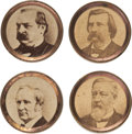 Political:Ferrotypes / Photo Badges (pre-1896), Cleveland & Hendricks and Blaine & Logan: Four Studs....(Total: 2 Items)