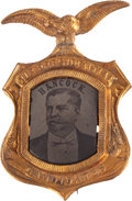 Political:Ferrotypes / Photo Badges (pre-1896), Winfield Scott Hancock: One of the Best Ferrotype Portrait Pins forthis 1880 Democratic Candidate....