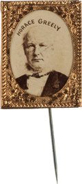 Political:Ferrotypes / Photo Badges (pre-1896), Horace Greeley: A Rare 1872 Photo Pin....