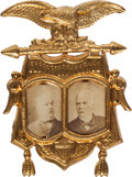 Political:Ferrotypes / Photo Badges (pre-1896), Cleveland & Stevenson: Scarce 1892 Jugate Photo Badge in ChoiceCondition....