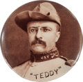 Political:Pinback Buttons (1896-present), Theodore Roosevelt: 1¼-inch Campaign Button in Rough RiderUniform....