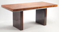 Manner of PIERRE CARDIN (French, b. 1922) Dining Table, circa 1970 Burl walnut veneer, steel, mahoga
