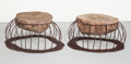 Furniture , Philip Miller (American, 20th Century). Pair of Side Tables, 2000. Mojave Desert boulder, wrought iron. 13-1/2 x 25 x 21... (Total: 2 Items)