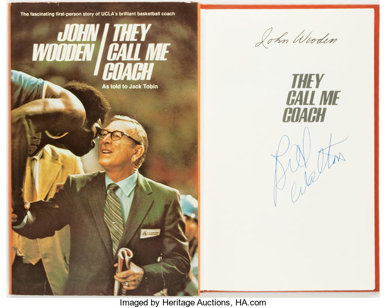 John Wooden Signed They Call Me Coach Waco Word Books Lot