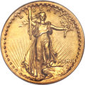 High Relief Double Eagles, 1907 $20 High Relief, Flat Rim AU58 PCGS. CAC....
