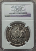 German States:Saxony, German States: Saxony. Friedrich August II 1/2 Vicariat Taler 1742 VF Details (Surface Hairlines) NGC,...