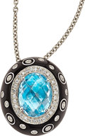 Estate Jewelry:Necklaces, Blue Topaz, Diamond, Enamel, White Gold Pendant-Necklace, Favero. ...