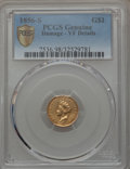 Gold Dollars: , 1856-S G$1 Type Two -- Damage -- PCGS Genuine Secure. VF Details. NGC Census: (1/212). PCGS Population (1/172). Mintage: 24...