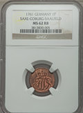 German States:Saxe  - Coburg  - Saalfeld, German States: Saxe-Coburg-Saalfeld. Franz Josias Pfennig 1761 MS62Red and Brown NGC,...