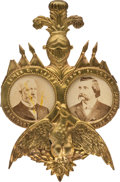 Political:Ferrotypes / Photo Badges (pre-1896), Blaine & Logan: Outstanding Cardboard Jugate....