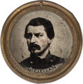 Political:Ferrotypes / Photo Badges (pre-1896), George McClellan: Jumbo Ferrotype Badge....