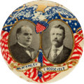Political:Pinback Buttons (1896-present), McKinley & Roosevelt: Highly Graphic Patriotic Jugate....
