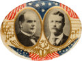 "Political:Pinback Buttons (1896-present), McKinley & Roosevelt: Graphic ""Musical Notes"" Jugate...."