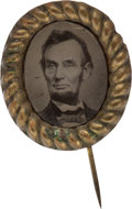Political:Ferrotypes / Photo Badges (pre-1896), Abraham Lincoln: Oval Ferrotype Stickpin. ...
