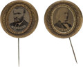 Political:Ferrotypes / Photo Badges (pre-1896), Ulysses S. Grant and Horace Greeley: Matching FerrotypeStickpins.... (Total: 2 Items)