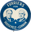 "Political:Pinback Buttons (1896-present), Roosevelt & Lehman: The Rare ""Furriers"" 2¼-inch Jugate...."