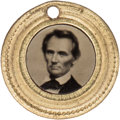 Political:Ferrotypes / Photo Badges (pre-1896), Abraham Lincoln: Back-to-Back Ferrotype Charm....