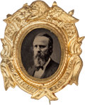 Political:Ferrotypes / Photo Badges (pre-1896), Rutherford B. Hayes: Superb Ferrotype Badge....