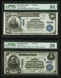 National Bank Notes:Maine, Ellsworth, ME - $5 1902 Plain Back Fr. 600 The Burrill NB Ch. #(N)3804 and $10 1902 Plain Back Fr. 626 The Liberty NB... (Total: 2notes)