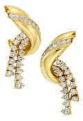 Estate Jewelry:Earrings, Diamond, Gold Earrings, Jose Hess. ...