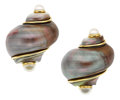 Estate Jewelry:Earrings, Shell, Cultured Pearl, Gold Earrings, Seaman Schepps. ...