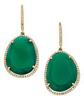 Estate Jewelry:Earrings, Chrysoprase, Diamond, Gold Earrings. ...
