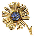 Estate Jewelry:Brooches - Pins, Sapphire, Gold Brooch, Van Cleef & Arpels. ...