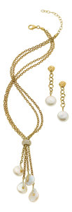 Estate Jewelry:Necklaces, Freshwater Cultured Pearl, Diamond, Gold Jewelry Suite, Yvel. ...(Total: 2 Items)