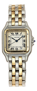 Estate Jewelry:Watches, Cartier Lady's Gold, Stainless Steel Panther Watch. ...