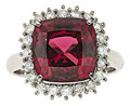 Estate Jewelry:Rings, Garnet, Diamond, Platinum Ring. ...