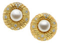 Estate Jewelry:Earrings, Cultured Pearl, Diamond, Gold Earrings, Judith Ripka. ...