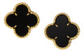 Estate Jewelry:Earrings, Black Onyx, Gold Earrings, Van Cleef & Arpels. ...