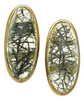 Estate Jewelry:Earrings, Tourmalated Quartz, Gold Earrings, Paula Crevoshay. ...