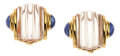 Estate Jewelry:Earrings, Rock Crystal Quartz, Sapphire, Gold Earrings, Trianon. ...